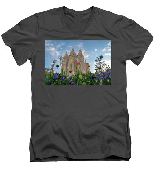 Flowers At Temple Square Men's V-Neck T-Shirt