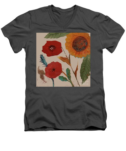 Men's V-Neck T-Shirt featuring the painting Flowers Blowing In The Wind by Robin Maria Pedrero
