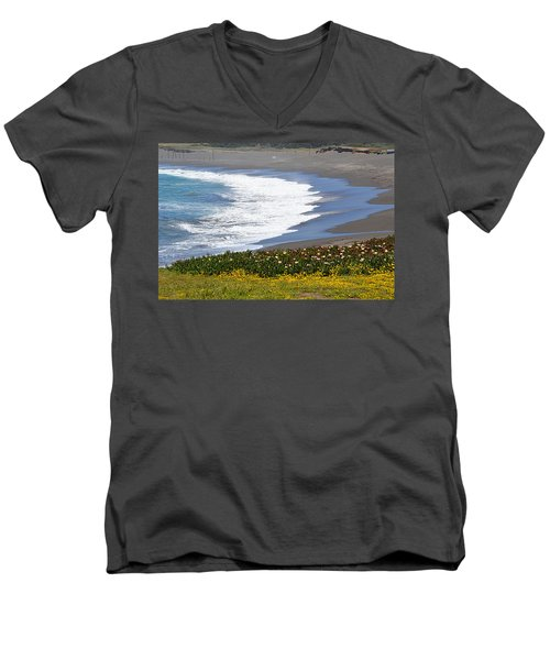 Flowers By The Sea Men's V-Neck T-Shirt
