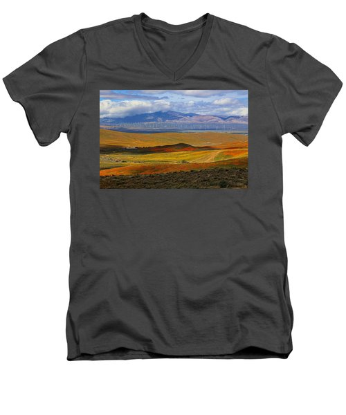 Men's V-Neck T-Shirt featuring the photograph Flowers Carpet by Viktor Savchenko