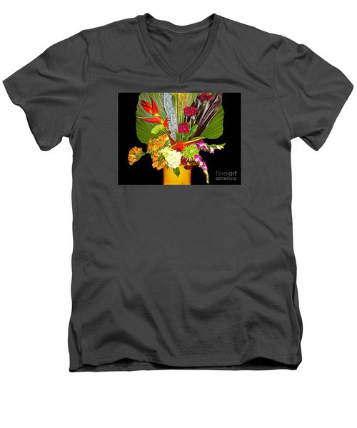 Men's V-Neck T-Shirt featuring the photograph Flowers - Fan Arrangement by Merton Allen