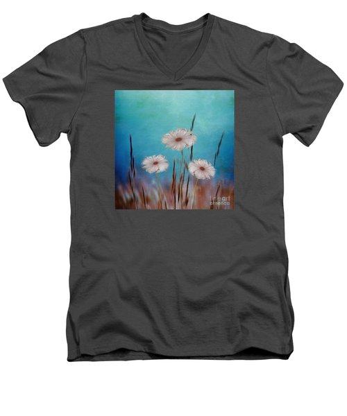 Men's V-Neck T-Shirt featuring the digital art Flowers For Eternity 2 by Klara Acel