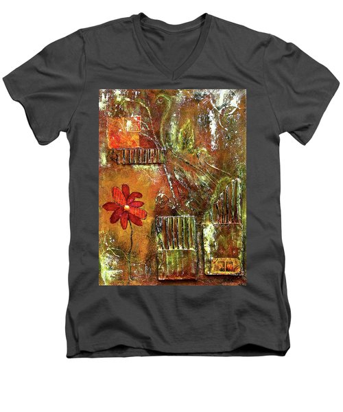 Flowers Grow Anywhere Men's V-Neck T-Shirt