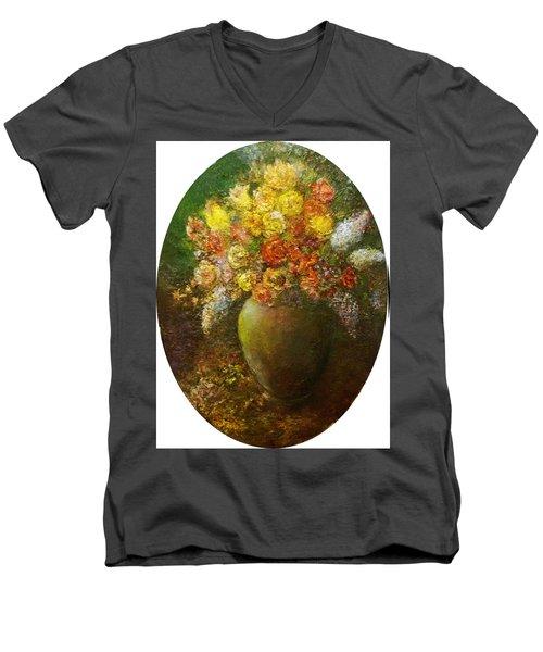 Flowers I A Green Vase Men's V-Neck T-Shirt
