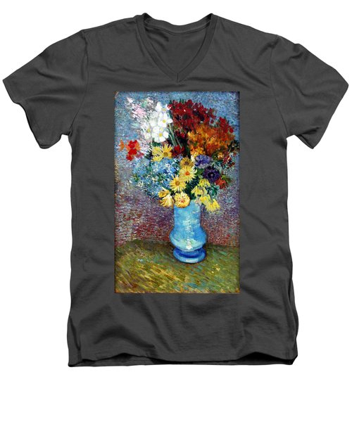 Men's V-Neck T-Shirt featuring the painting Flowers In A Blue Vase  by Van Gogh