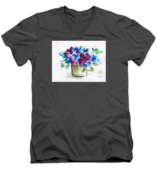 Flowers In A Glass Vase Abstract Men's V-Neck T-Shirt by Frank Bright