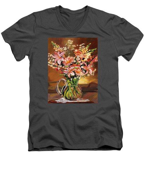 Flowers In Glass Men's V-Neck T-Shirt