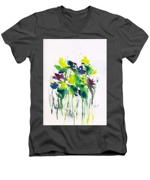 Flowers In Grass Abstract Men's V-Neck T-Shirt