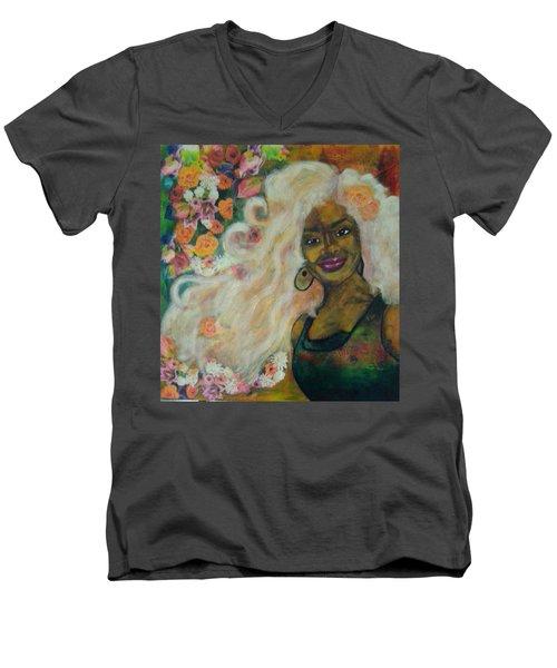 Flowers In Her Hair Men's V-Neck T-Shirt