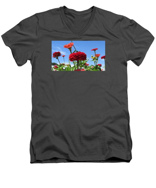 Flowers In The Blue Men's V-Neck T-Shirt by Jeanette Oberholtzer