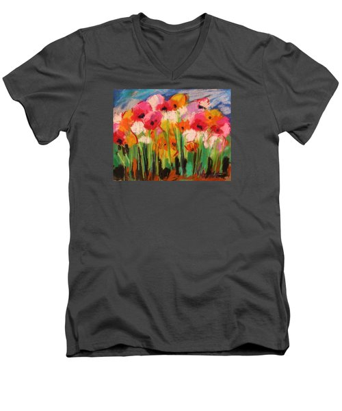 Men's V-Neck T-Shirt featuring the painting Flowers by John Williams