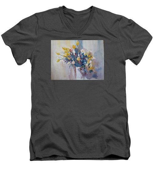 Tulips Flowers Men's V-Neck T-Shirt by Khalid Saeed