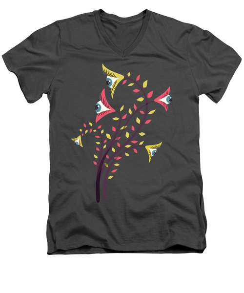 Flowers Of Watching Eyes Men's V-Neck T-Shirt