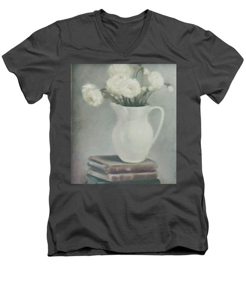Flowers On Old Books Men's V-Neck T-Shirt