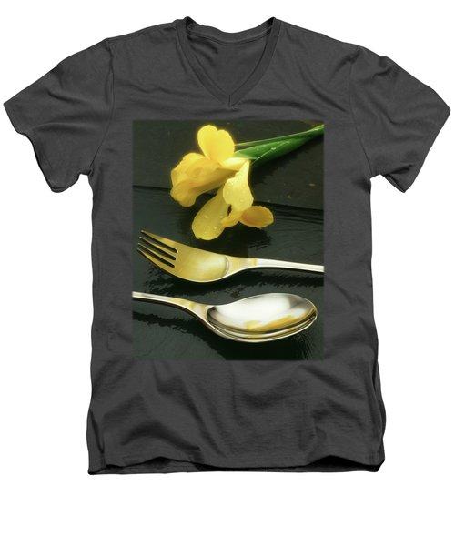 Flowers On Slate Men's V-Neck T-Shirt by Jon Delorme