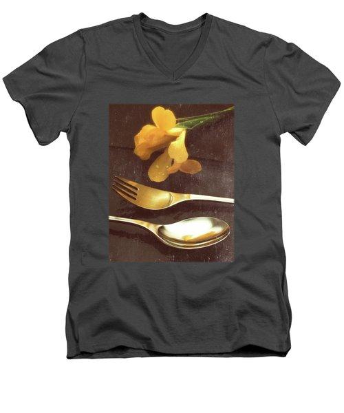 Flowers On Slate Variation 3 Men's V-Neck T-Shirt by Jon Delorme