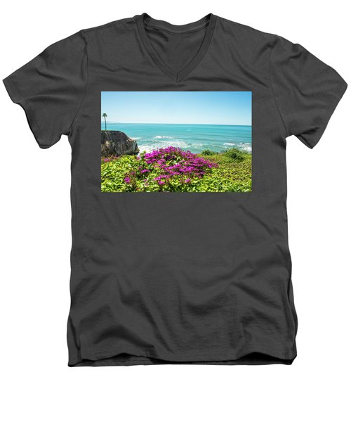 Flowers On The Cliff Men's V-Neck T-Shirt