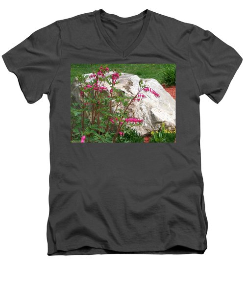 Men's V-Neck T-Shirt featuring the digital art Flowers On The Rocks by Barbara S Nickerson