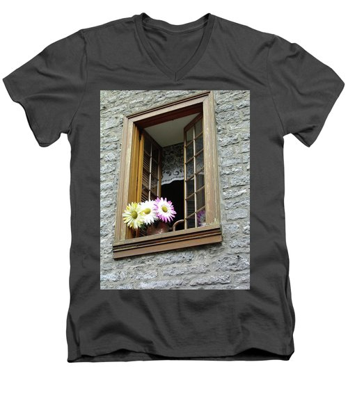 Men's V-Neck T-Shirt featuring the photograph Flowers On The Sill by John Schneider