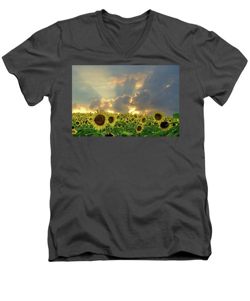 Flowers, Pillars And Rays, His Glory Will Shine Men's V-Neck T-Shirt by Janice Adomeit