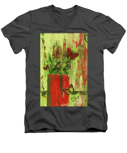 Men's V-Neck T-Shirt featuring the mixed media Flowers,butteriflies, And Vase by P J Lewis