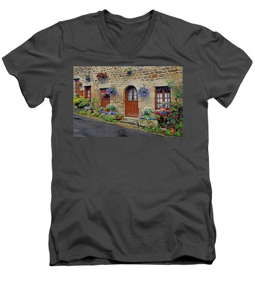 Flowery Doorways In Brittany Men's V-Neck T-Shirt