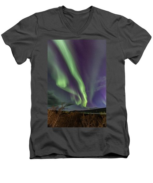 Flowing Aurora Men's V-Neck T-Shirt by Hitendra SINKAR