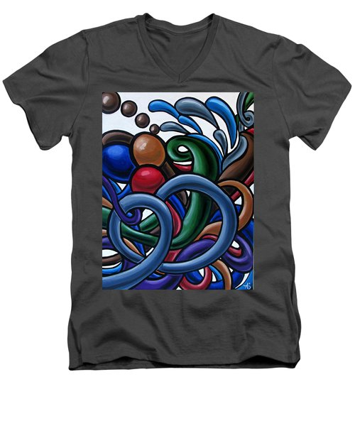 Colorful Abstract Art Painting Chromatic Water Artwork Men's V-Neck T-Shirt