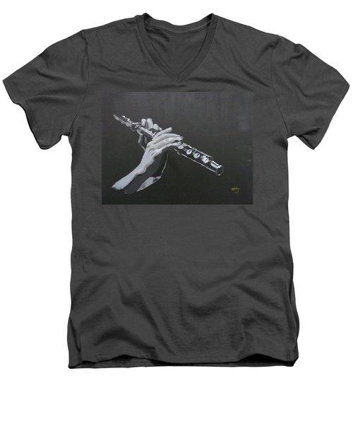 Flute Hands Men's V-Neck T-Shirt