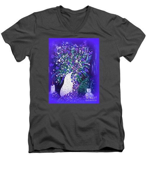 Men's V-Neck T-Shirt featuring the painting Flower Art  Spring Flowers In A Vase by Sherri  Of Palm Springs
