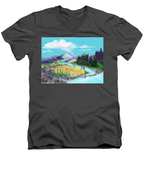 Fly Fishing With Aa Wooly Worm. Men's V-Neck T-Shirt