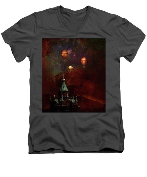 Men's V-Neck T-Shirt featuring the digital art Flying Balloons Over Stockholm by Jeff Burgess