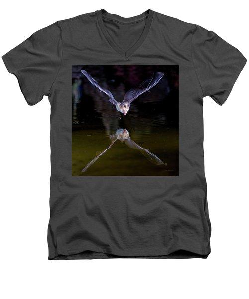 Flying Bat With Reflection Men's V-Neck T-Shirt