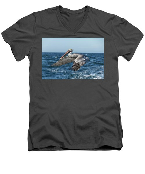 Flying Brown Pelican Men's V-Neck T-Shirt by Robert Bales