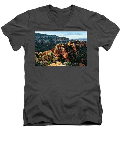 Flying Buttress 04-227 Men's V-Neck T-Shirt by Scott McAllister