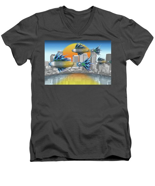 Men's V-Neck T-Shirt featuring the digital art Flying Fisque  by Steve Sperry