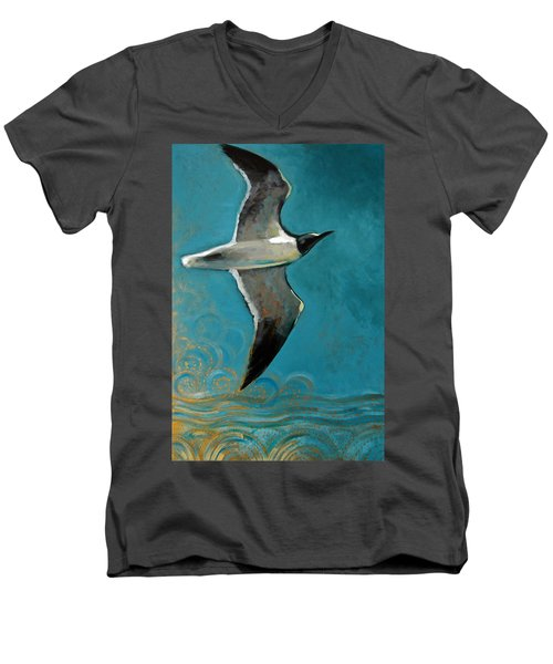 Men's V-Neck T-Shirt featuring the painting Flying Free by Suzanne McKee