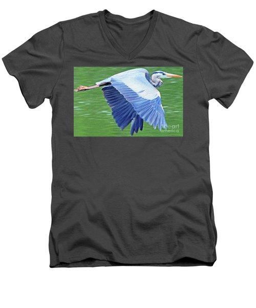 Flying Great Blue Heron Men's V-Neck T-Shirt