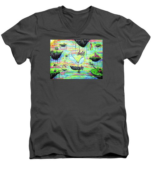 Men's V-Neck T-Shirt featuring the painting Flying Islands by Viktor Lazarev