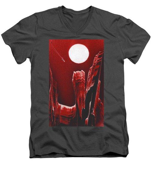 Flying Over Fuchsia Men's V-Neck T-Shirt