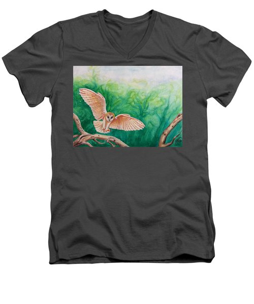 Men's V-Neck T-Shirt featuring the painting Flying Owl by Steed Edwards