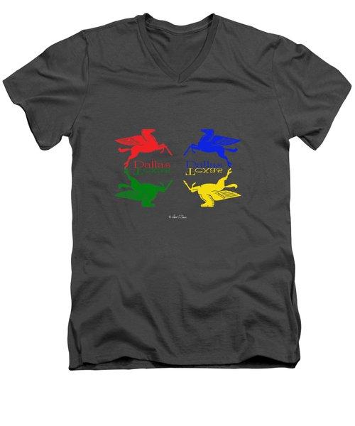 Flying Red Green Blue Yellow Horse Dallas Texas Reflections Men's V-Neck T-Shirt by Robert J Sadler