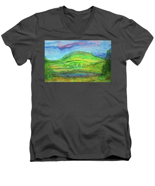 Men's V-Neck T-Shirt featuring the painting Flying Solo by Susan D Moody