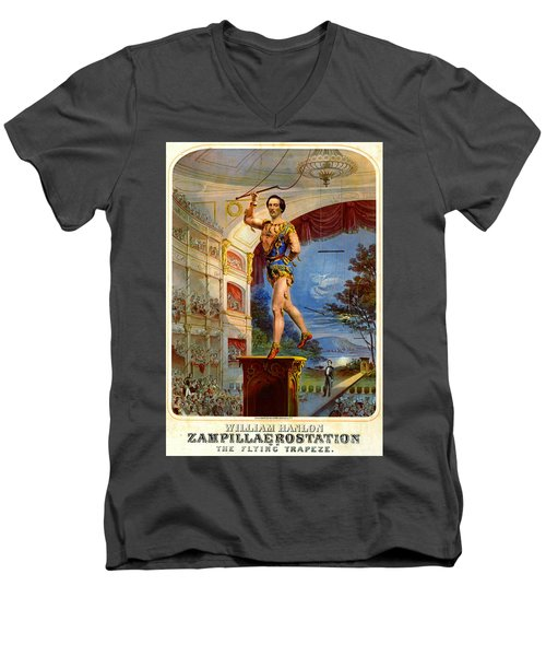 Men's V-Neck T-Shirt featuring the photograph Flying Trapeze 1850 by Padre Art