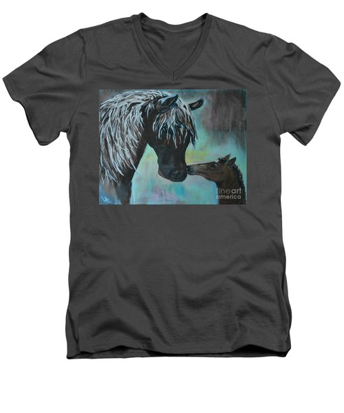 Men's V-Neck T-Shirt featuring the painting Foal Kiss by Leslie Allen