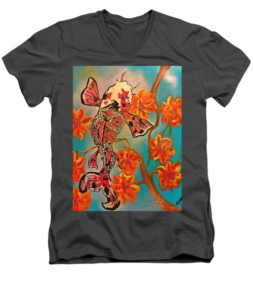 Focus Flower  Men's V-Neck T-Shirt by Miriam Moran