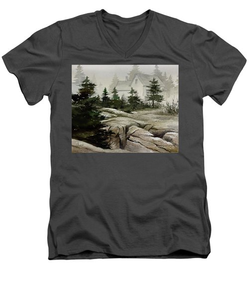 Men's V-Neck T-Shirt featuring the painting Fog At The Coast by James Williamson
