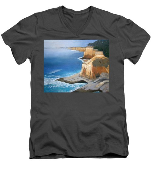 Men's V-Neck T-Shirt featuring the painting Fog Burning Off by Gary Coleman