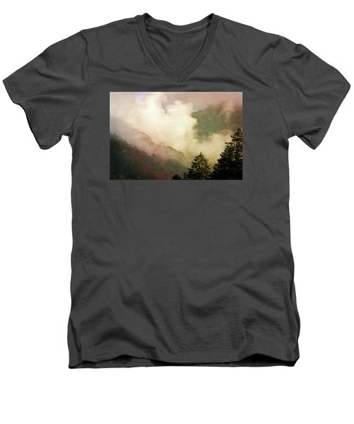 Fog Competes With Sun Men's V-Neck T-Shirt by AugenWerk Susann Serfezi