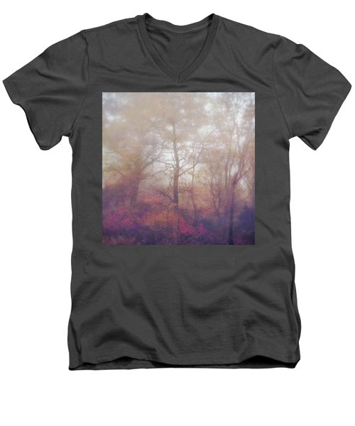 Fog In Autumn Mountain Woods Men's V-Neck T-Shirt